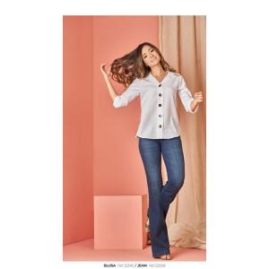 Camisa manga 3/4 y botonadura cuadrada  Mujer Ref 32346